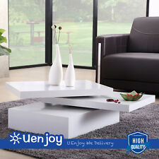 White Square Coffee Table Rotating Contemporary Modern Living Room Furniture