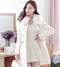 Le donne inverno collo in pelliccia medio a pelo lungo lana giacca trench outwear slimfit elegante