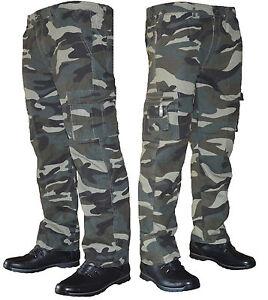 Pantaloni uomo cargo  militare mimetico con tasconi cotone