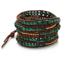 KELITCH Women Men Charm 5 Wrap Bracelet Agate Gold Bead Strand Chain Cuff Bangle