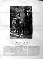 Original Old Antique Print Ref.331 1883 Illustration Story Thirl Hall Romance
