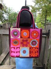 New Lulu Guinness Pop Flower Burg Tote Floral Wool Maroon Pink Felt NWOT