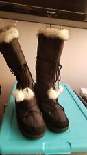Totes All Weather Black Boots Faux Fur Snow Quick Lace Zipper Women's Size 9 B