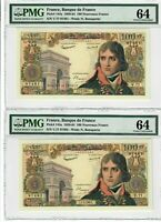 France 100 NF Two Consecutive Notes 1960 Pick# 144a PMG Choice UNC 64 Rare