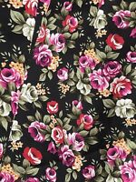 Cottage Chic Roses Bouquet 100% quality Cotton Fabric. Black Color. BTY