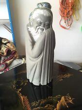 "Lladro Black/Gray Gres Figurine ""SITTING CHINESE MAN"" China"