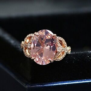 14K Rose Gold Plated 5.80 Carat Oval Cut Pink Diamond Art Deco Engagement Ring
