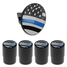 Tow Hitch Cover Insert Plug for Truck & SUV + VALVE CAPS - POLICE THIN BLUE LINE