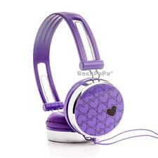 Boys Girls Kids Childs RockPapa Over Ear Love Hearts DJ Stereo Headphones Purple
