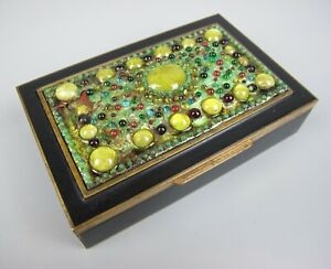 Superb vintage gilded enamelled brass with glass Cigarette Jewellery Box. Japan.