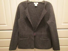 Talbots Petites Womens Gray Size M Wool Jacket One Button Two Pockets Nice