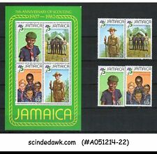 JAMAICA - 1982 75TH ANNIVERSARY OF SCOUTING - SET OF MINIATURE SHEET & 4V - MNH
