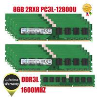 Lot For Samsung 8GB 2RX8 PC3L-12800U DDR3 1600MHz 240pin Desktop Memory RAM DIMM
