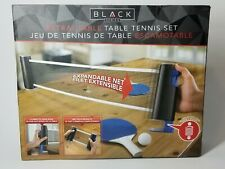 Retractable Table Tennis Set  with Net Paddles and Ping Pong Balls Black Series