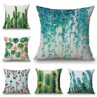 """Plant Pattern Home Cotton Linen Sofa Decor Pillow Case Waist Cushion Cover 18"""""""
