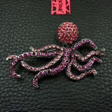 Betsey Johnson Pink Crystal Rhinestone Octopus Fashion Brooch Pin