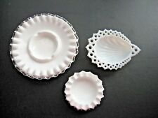 Lot 3 milk white glass dish bowl ashtray RING DISH