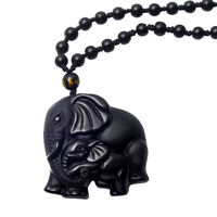 Natural Black Obsidian Elephant Hand Carved Pendant Lucky Beads Necklace Chain