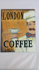 BNWT Hand Painted Glass Picture / Art / Sign Featuring London Coffee Designer