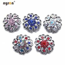 Multi Color 18mm Snap Button Rhinestone Flower Snap Charms For Snap Jewelry 0188