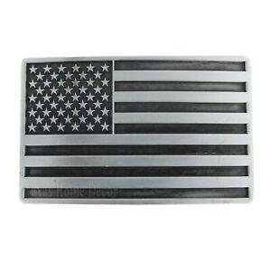 """American Flag Men's Belt Buckle USA Pride Antique Silver Fits 1.5"""" Belts"""