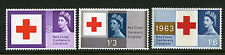 1963 3d-1/6 RED CROSS PHOSPHOR SET M/MINT SG 642p-4p