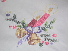 A PRETTY PINK CHRISTMAS TIED WITH PURPLE BOWS! VTG GERMAN HAND EMB TABLECLOTH