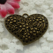 Free Ship 33 pieces bronze plated heart pendant 41x32mm #998