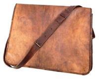 """18"""" New Men's Leather Vintage Full Flap Messenger Shoulder Laptop Bag Briefcase"""