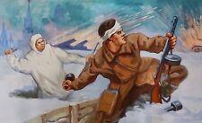 ORIGINAL RUSSIAN SOVIET UKRAINIAN OIL PAINTING WW2 BATTLE PROPAGANDA ART WWII