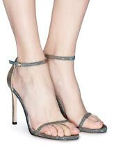 STUART WEITZMAN NEW Nudist Traditional Pewter Silver Metallic Sandals Heels 9