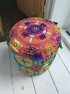 HANDMADE FABRIC INDIAN POUFFE ON A SOLID BAMBOO FRAME