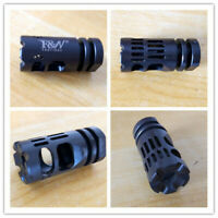 New Black 1/2-28 Thread Muzzle Brake With Free Crush Washer For .223/5.56