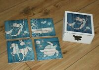 FOUR NAUTICAL CERAMIC COASTERS IN WOODEN BOX ,SHABBY CHIC
