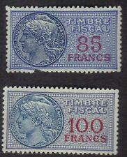 France 1925 Revenues Timbre Fiscal Revenues 85F & 100F Lot Of 2 MNH