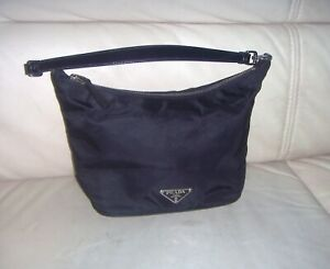 Authentic Black Prada Tessuto Sirio Small Hobo Bag - ITALY
