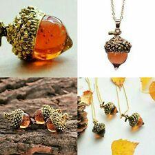 Vintage Style Amber Glass Oak Acorn Pendant Necklace Antique Bronze +Gift Bag UK