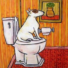 bull terrier in the bathroom dog art tile coaster gift animals impressionism