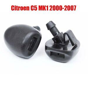 2Pcs Front Windshield Wiper Washer Hood Jet Sprayer Nozzle For Citroen C5 00-07