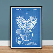 "HARLEY DAVIDSON 1923 MOTORCYCLE ENGINE POSTER Blueprint Patent 18x24"" (unframed)"