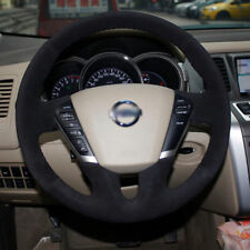 Anti Slip Swede Leather Steering Wheel Stitch on Wrap Cover For Nissan Teana