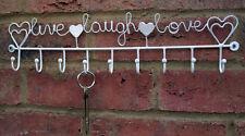BIANCO Gancio Rack Live Laugh Love segno per le chiavi Grembiule TEA ASCIUGAMANO SHABBY CUCINA NUOVO