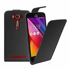BLACK Leather Flip Case Cover For Asus Zenfone 2 Laser 5.0` (ZE500KL) +2 FILMS