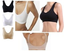 Women's Seamless Organic Bamboo Stretch Shaper Crop Athletic Gym Sports Yoga Bra