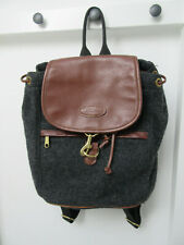 Vintage Ll Bean Leather Gray Wool Rucksack Backpack Plaid Flannel Lined - Rare