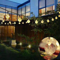 30 Solar Garden Lights String Fairy Multi LED Crystal Globe Ball Weatherproof HM