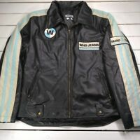 Who Jeans Faux Leather Jacket Mens Medium Black Motorcycle Racer Style