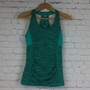 Lucy Size XS Green Top Tank Racerback Sleeveless Stretch Ruched Workout Womens