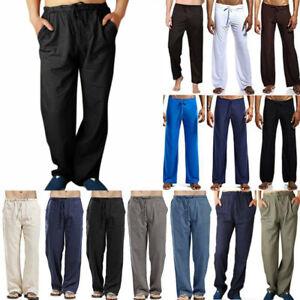 Mens Long Pants Yoga Casual Bottoms Lounge Loose Wide Leg Drawstring Trousers