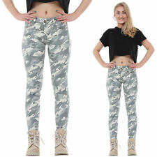 Light Green Camouflage Slim Stretch SKINNY Jeans Cropped Short Leg Trousers 14